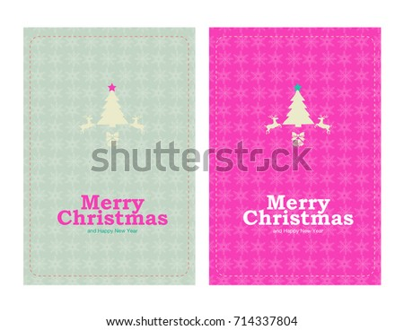 Merry Christmas and Happy New Year Card, Set of 2 size H 4 inch. x W 6 inch.
