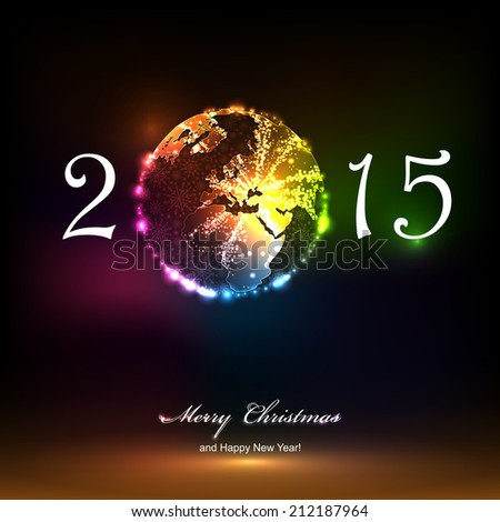 2015 Merry Christmas and happy new year celebration background for your posters. Brightly Colorful Vector Fireworks and Salute- vector isolated on black background - stock vector