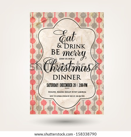 Merry Christmas and Happy New Year Invitation.Vector illustration. - stock vector