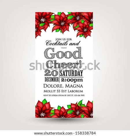 Merry Christmas and Happy New Year Invitation.Vector illustration. Poinsettia - stock vector