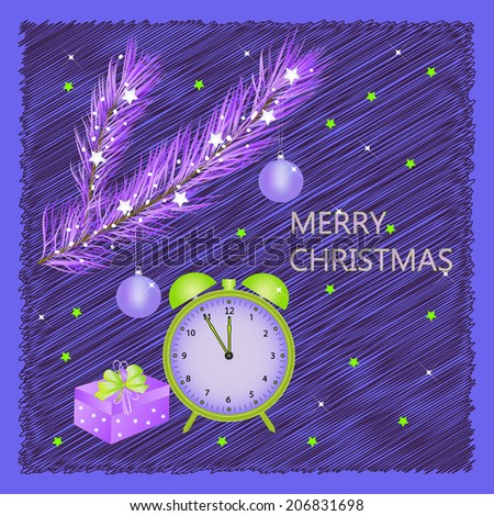 merry christmas card. gift, alarm clock, tree branch on blue background, vector