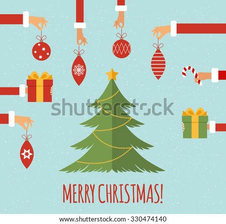 Merry christmas concept in flat style. Hands of the people holding Christmas symbols, among them ball, Christmas tree, Santa hat, gift, Christmas wreath. Vector illustration - stock vector