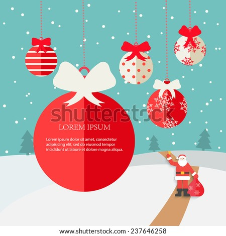 Merry Christmas Greeting card with winter landscape, snowfall,  hanging Christmas balls with red ribbons in flat design style , vector illustration  - stock vector