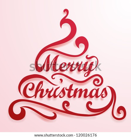 merry christmas lettering and floral decoration elements vector card design