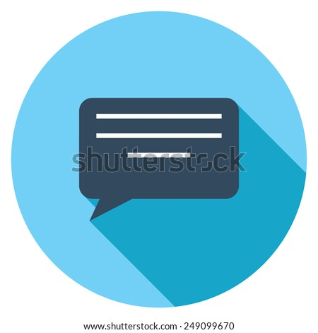 Message flat icon. Modern flat icons with long shadow effect in stylish colors. Icons for Web and Mobile Application. EPS 10. - stock vector