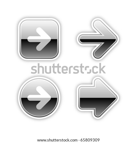 4 metal arrow sign web 2.0 stickers. Silver luxury button with shadow on white. 10 eps