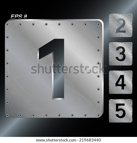 Metal plates with rivets. Number 1,2,3,4,5. Vector EPS 8. - stock vector