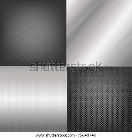 4 Metal Texture Backgrounds, Vector Background - stock vector