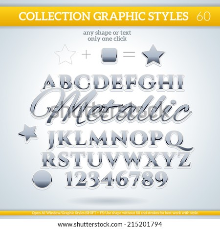 Metallic Graphic Styles for Design. Graphic styles can be use for decor, text, title, cards, events, posters, icons, logo and other. - stock vector