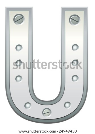 Metallic letter with rivets and screws - stock vector
