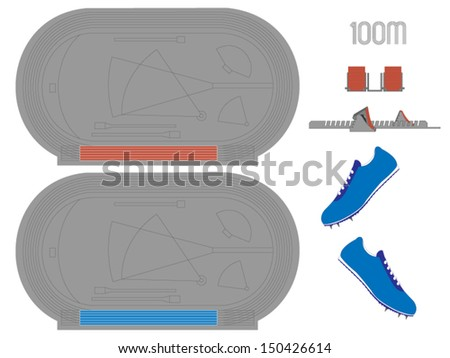 100 Meters Running Track in Red and Blue - stock vector