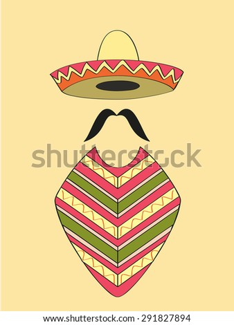 Mexican outfit of sombrero hat, long moustache and poncho - stock vector