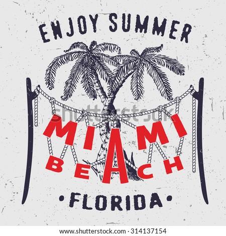 38 Miami Beach Enjoy Summer Florida. Handmade Palms trees retro style. Design fashion apparel textured print. T shirt graphic vintage grunge vector illustration badge label logo template.  - stock vector