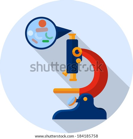 Microscope with the image of bacteria - stock vector