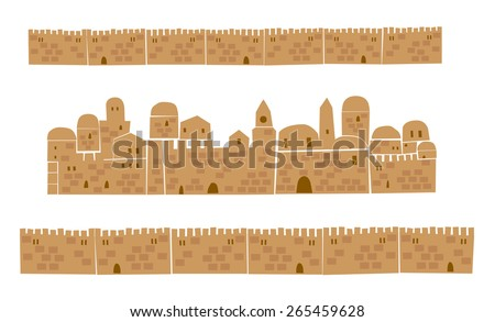 Middle East Town, Holy City, Vector illustration - stock vector