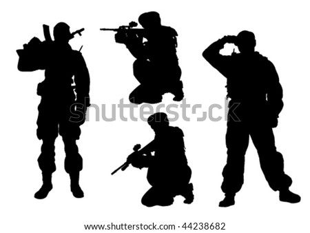 4 military men silhouettes - stock vector