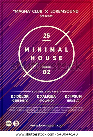 """Minimal house"" party poster. Futuristic flyer design. Dynamic background with line shapes in motion. Eps10 vector template."