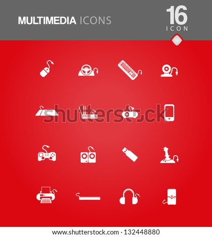 16 Minimal styled Office and pc icons for year 2013 - stock vector