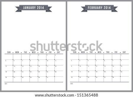 2014 minimalist calendar, part 1 of 6 - stock vector
