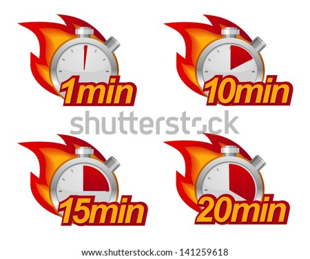 1 minute, 10 minutes, 15 and 20 minutes timers with fire on background - stock vector