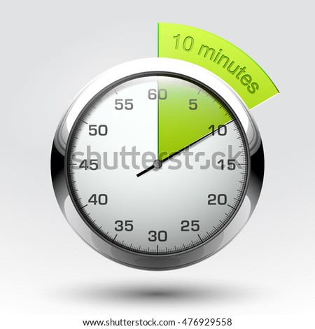 10 minutes timer. Office clock with 10 min segment