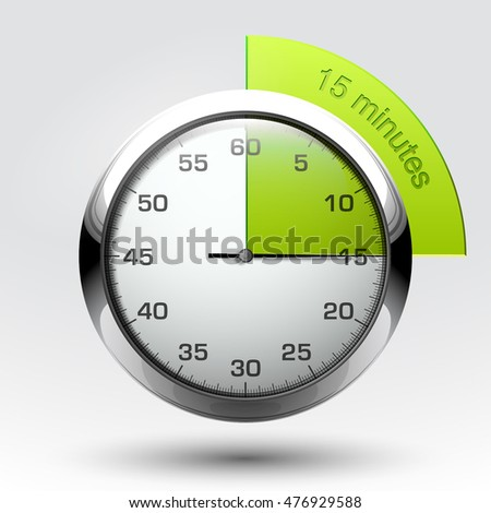 15 minutes timer. Office clock with 15 min segment