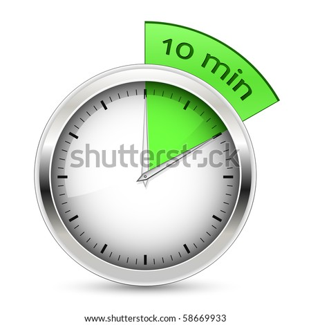 10 minutes. Timer vector illustration. - stock vector