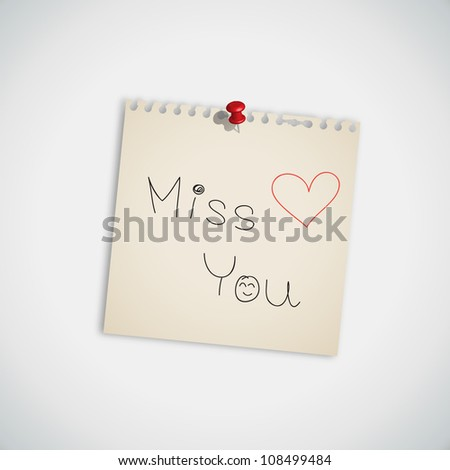 """ Miss You "" handwritten on Note Paper Vector"