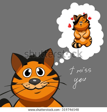 """""""Miss you"""" postcard. Tiger in love. - stock vector"""