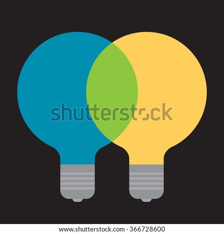 mixing two ideas together to create a new one, color light bulbs - stock vector