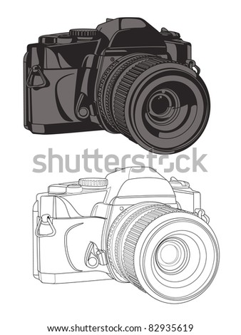 35mm Camera Vector with 2 versions (one solid in two colors, the other an outline view). - stock vector