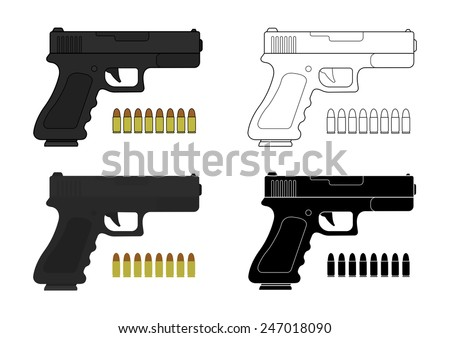 9 mm pistol and bullets. Color, contour, silhouette. Vector clip art illustrations isolated on white - stock vector