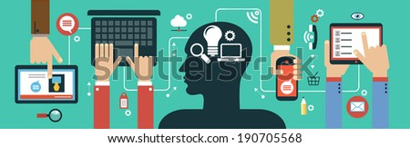 Mobile apps concept. Flat design vector illustration. Human hand with mobile phone, tablet, laptop and interface icons - stock vector