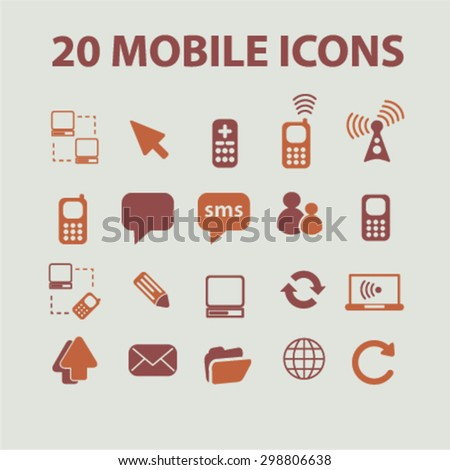 20 mobile, communication, connection, phone icons, signs, illustrations set, vector