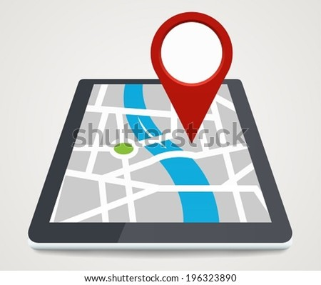 Mobile phone with pointer on screen, GPS concept in flat style - stock vector