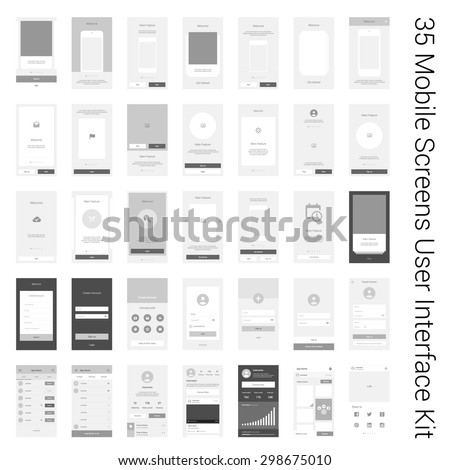 35 Mobile Screens User Interface Kit. Modern user interface UX, UI screen template for mobile smart phone or responsive web site. Welcome, onboarding, login, sign-up and home page layout.