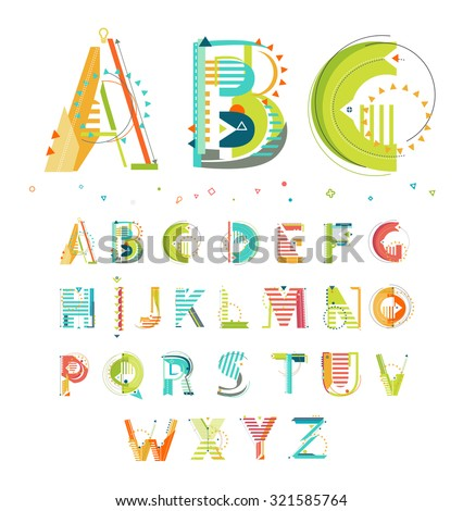 Modern Abstract Colorful Alphabet / Geometric style / Letters - stock vector