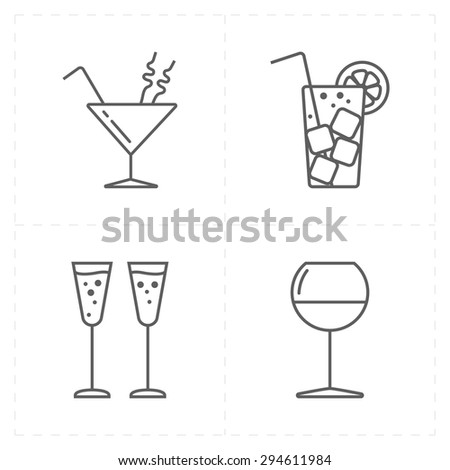 4 modern flat bar icons - stock vector