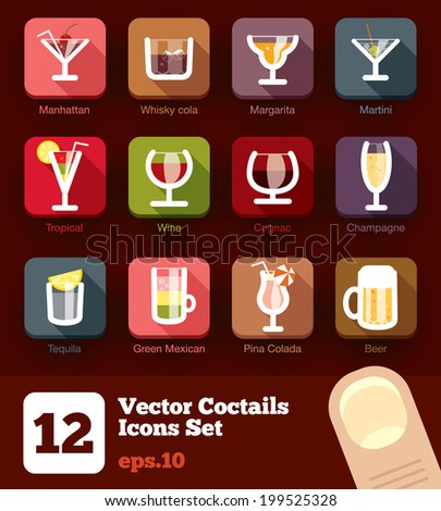 12 modern flat cocktails and drinks icons vector set with long shadow effect - stock vector