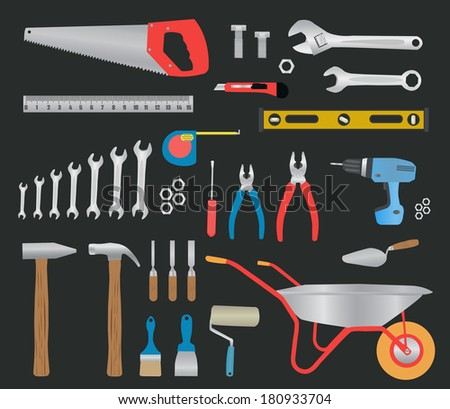 Modern hand tools. instruments collection for metalwork, woodwork, mechanical and measuring works. - stock vector