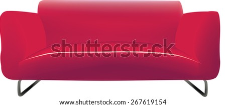 Modern three-seater sofa in fabric and leather red - stock vector