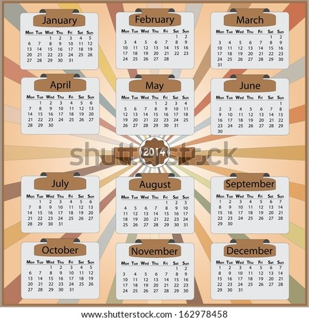 2014 monday start calendar on vintage style. Easy to edit eps10 vector.