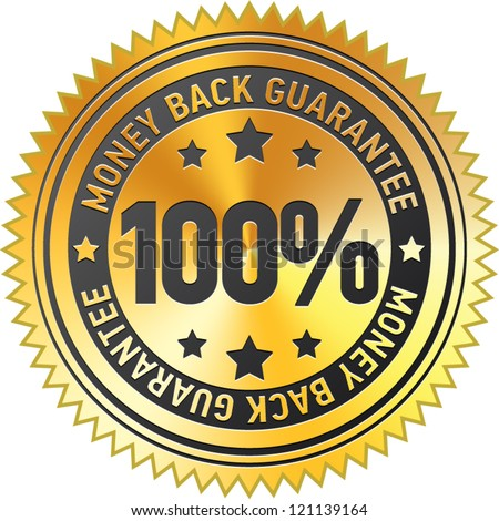 100% money back guarantee label - stock vector