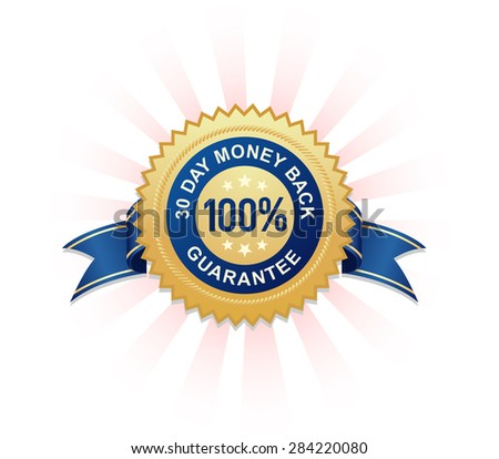 100% Money Back Guarantee Stamp radiating light! - stock vector