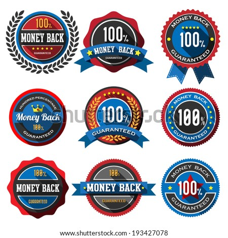100% MONEY BACK,retro vintage badges and labels. Flat design with long shadow .eps10  - stock vector
