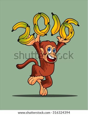 2016 monkey character  - stock vector