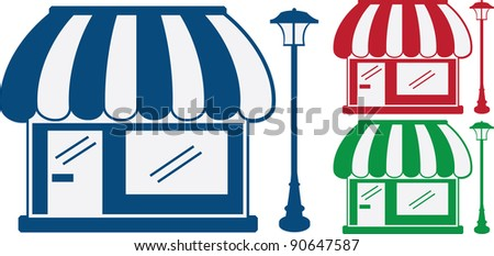 3 monochromatic shop fronts with awnings and light post - stock vector