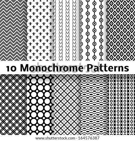 10 Monochrome different vector seamless patterns (tiling). Endless texture can be used for wallpaper, pattern fills, web page background, surface textures. Set of black and white geometric ornaments.