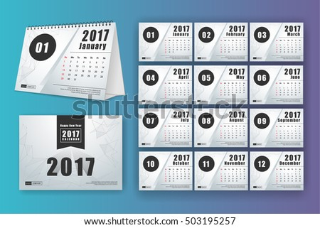 12 month desk calendar template for print design with mesh polygon ...
