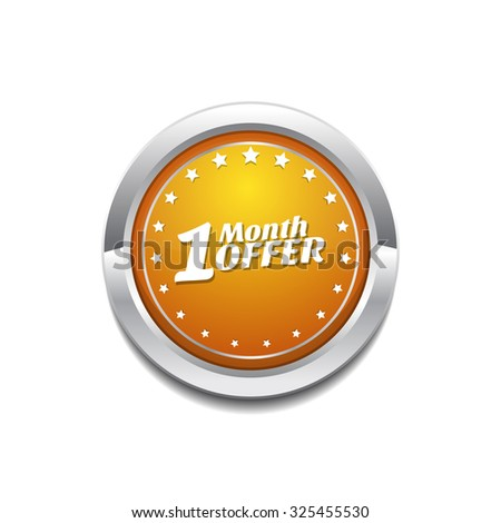 1 Month Offer Yellow Vector Icon Button